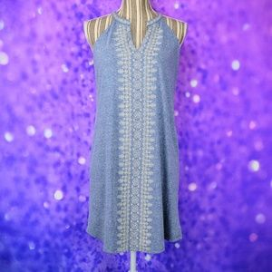 THML Embroidered Halter Swing Dress